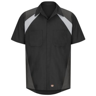 Tri-Color Short Sleeve Shop Shirt-