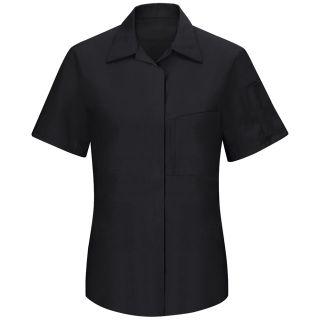 Womens Performance Plus Shop Shirt with OIL BLOK Technology Short Sleeve-Red Kap®