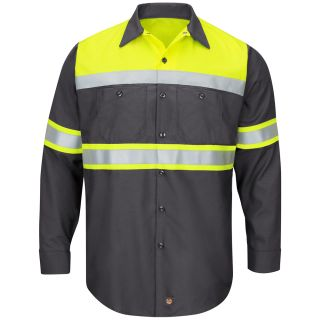 Hi-Visibility Colorblock Ripstop Work Shirt - Type O, Class 1-Red kap