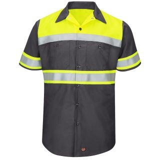 SY80 Hi-Visibility Colorblock Ripstop Work Shirt - Type O, Class 1-Red kap