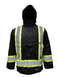 125 GSM ThermoMAXX® Insulated Hooded Safety Jacket- Black-Viking