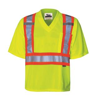 Safety Mesh T-Shirt, Sealed Pocket & Pen Slot, Radio Clip Straps - Grn.