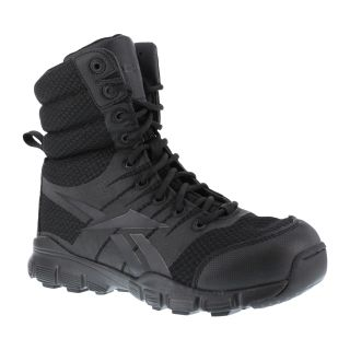 "Mens Soft Toe Seamless 8"" Tactical Boot with Side Zipper-"