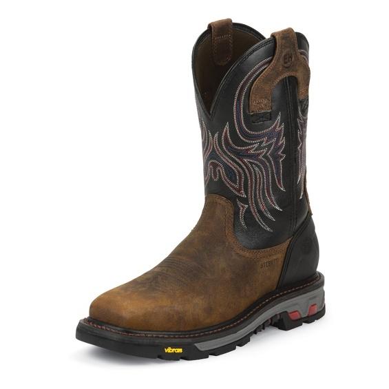 Justin - Tanker Black Steel Toe-Justin Boots