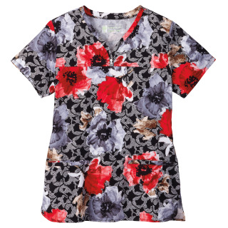 5962 Bio Prints Ladies Shaped Neckline Top
