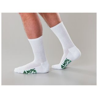 AMPS Men's Solid White Crew Performance Sock-AMPS