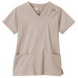 Bio Stretch Ladies Grommet V-Neck Top-