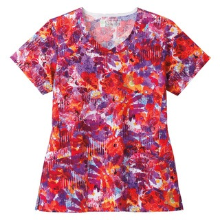 5071 Bio Prints Ladies Angle Pocket V-Neck Top