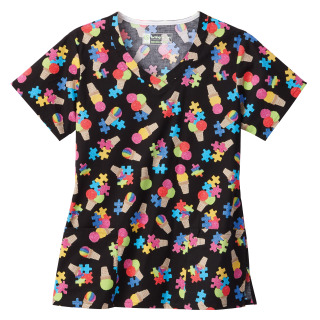 Bio Prints Ladies Overlap V-Neck Top-Bio