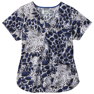 5569 Bio Prints Ladies Contrast Curved Placket Top