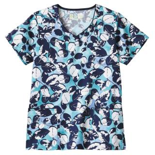 Bio Prints Ladies Contrast Trimmed V-Neck Top-