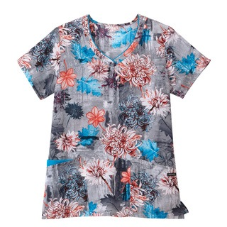 Jockey Classic Ladies Print Unique V-Neck Top-Jockey� Scrubs