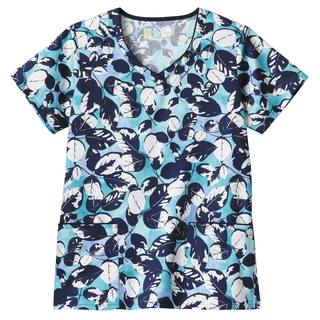 Bio Prints Contrast Trimmed V-Neck Top-BIO