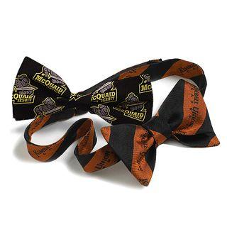 Custom Woven Logo Silk Banded Bow Tie-