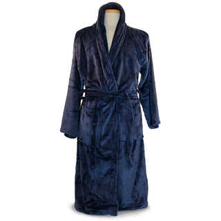 Navy Blue Plush Micro Fleece Robe-