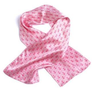Pink Ribbons Silk Novelty Scarf-