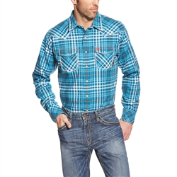 ARIAT FR TURQUOISE PLAID WORK SHIRT-Ariat