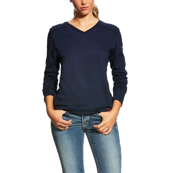 Ariat Women's FR AC V-Neck Top Navy-Ariat