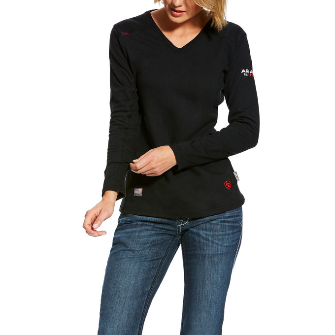 Ariat Women's  FR AC Crew  V-Neck Top Black-Ariat