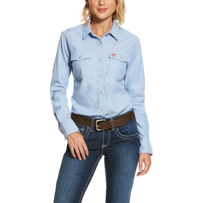 Ariat WOMEN'S FR Solid DuraStretch Snap Work Shirt-Ariat