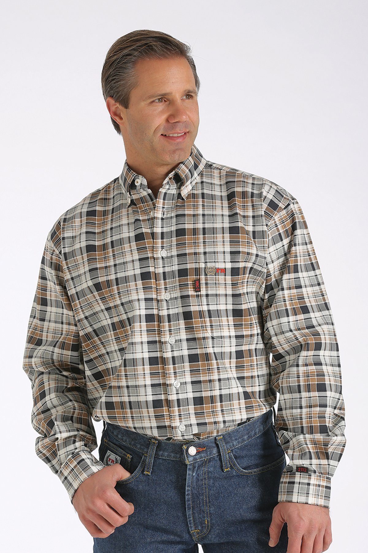 CINCH FR WRX BLACK & BROWN PLAID WORK SHIRT-Cinch WRX