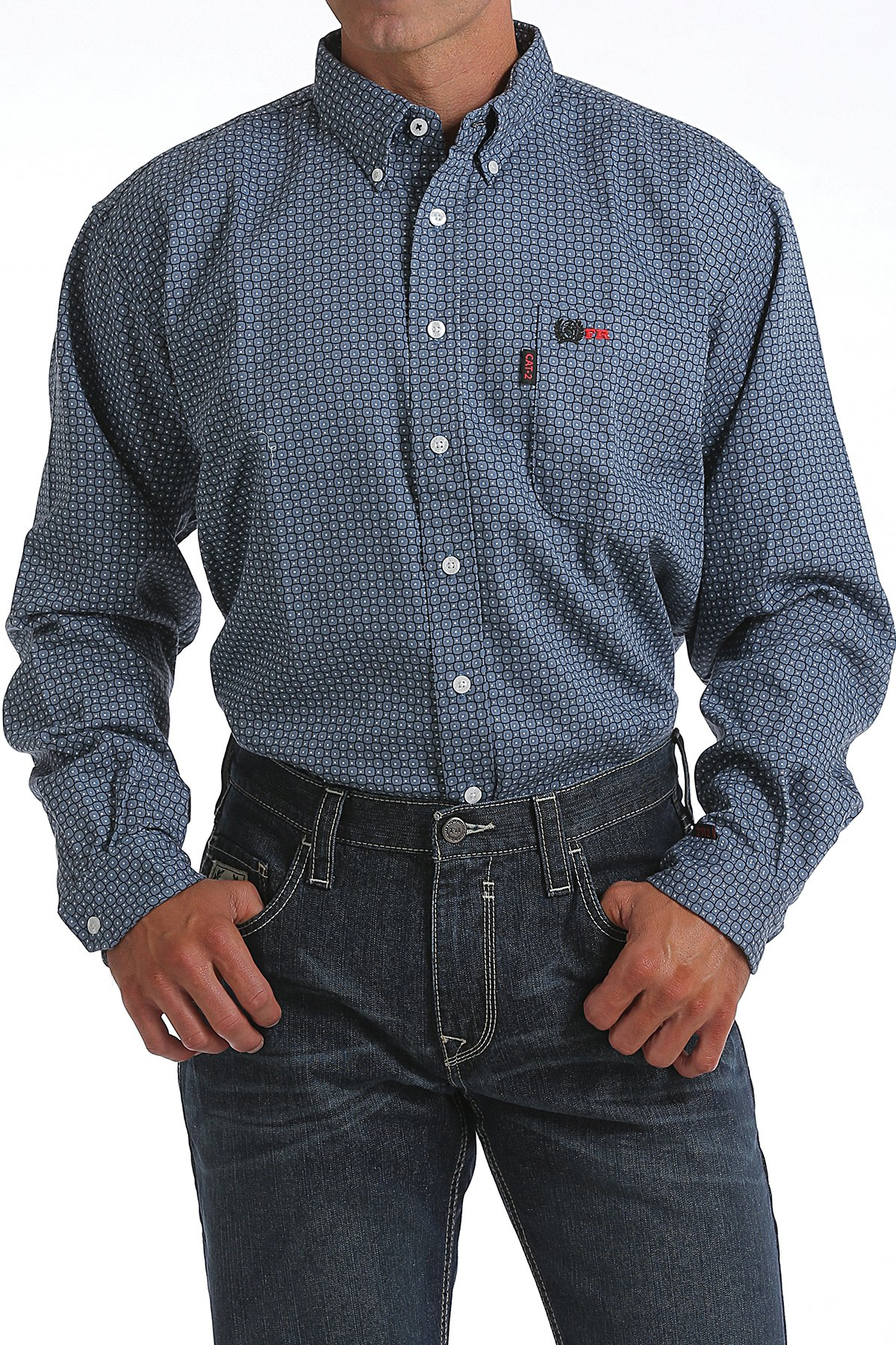 CINCH FR WRX BLUE GEOMETRIC PRINT WORK SHIRT-Cinch WRX
