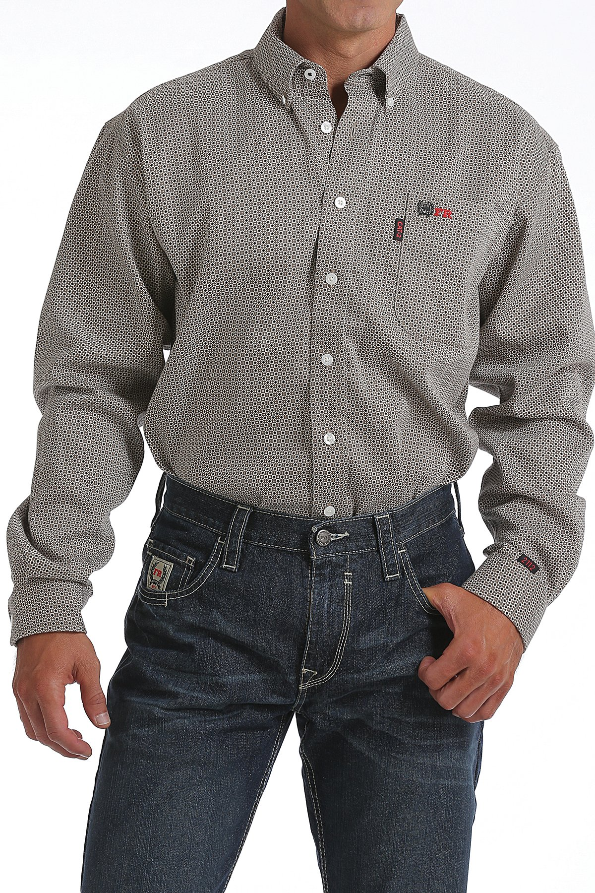 CINCH FR WRX TAN GEOMETRIC PRINT WORK SHIRT-Cinch WRX