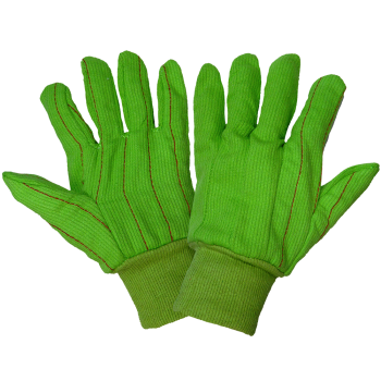 Corded Cotton Green Gloves-Global Glove