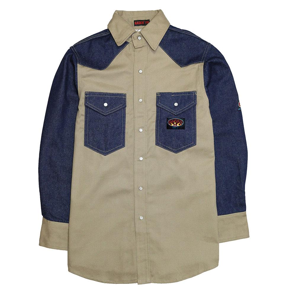Rasco Two Tone Work Shirt - Denim/Khaki-