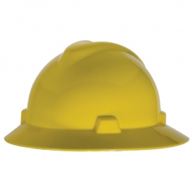 MSA 475366 V-Gard Full Brim Hard Hat - Fas-Trac Suspension - Yellow-Airgas