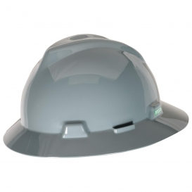 MSA 475367 V-Gard Full Brim Hard Hat - Fas-Trac Suspension - Gray-Airgas