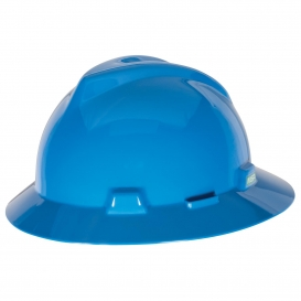 MSA 475368 V-Gard Full Brim Hard Hat - Fas-Trac Suspension - Blue-Airgas