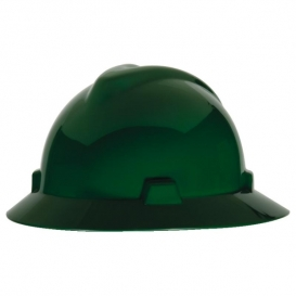 MSA 475370 V-Gard Full Brim Hard Hat - Fas-Trac Suspension - Green-Airgas