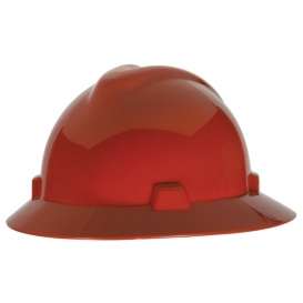 MSA 475371 V-Gard Full Brim Hard Hat - Fas-Trac Suspension - Red-Airgas