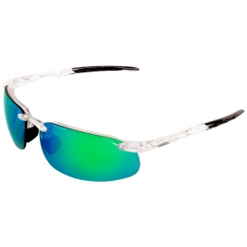 Bullhead BH10116AF Swordfish Safety Glasses - Clear Frame - Green Mirror Anti-Fog Lens-Bull Head Safety Glasses