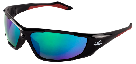 Bullhead BH1251612 Javelin Safety Glasses - Black Frame - Green Polarized Mirror Lens-Bull Head Safety Glasses