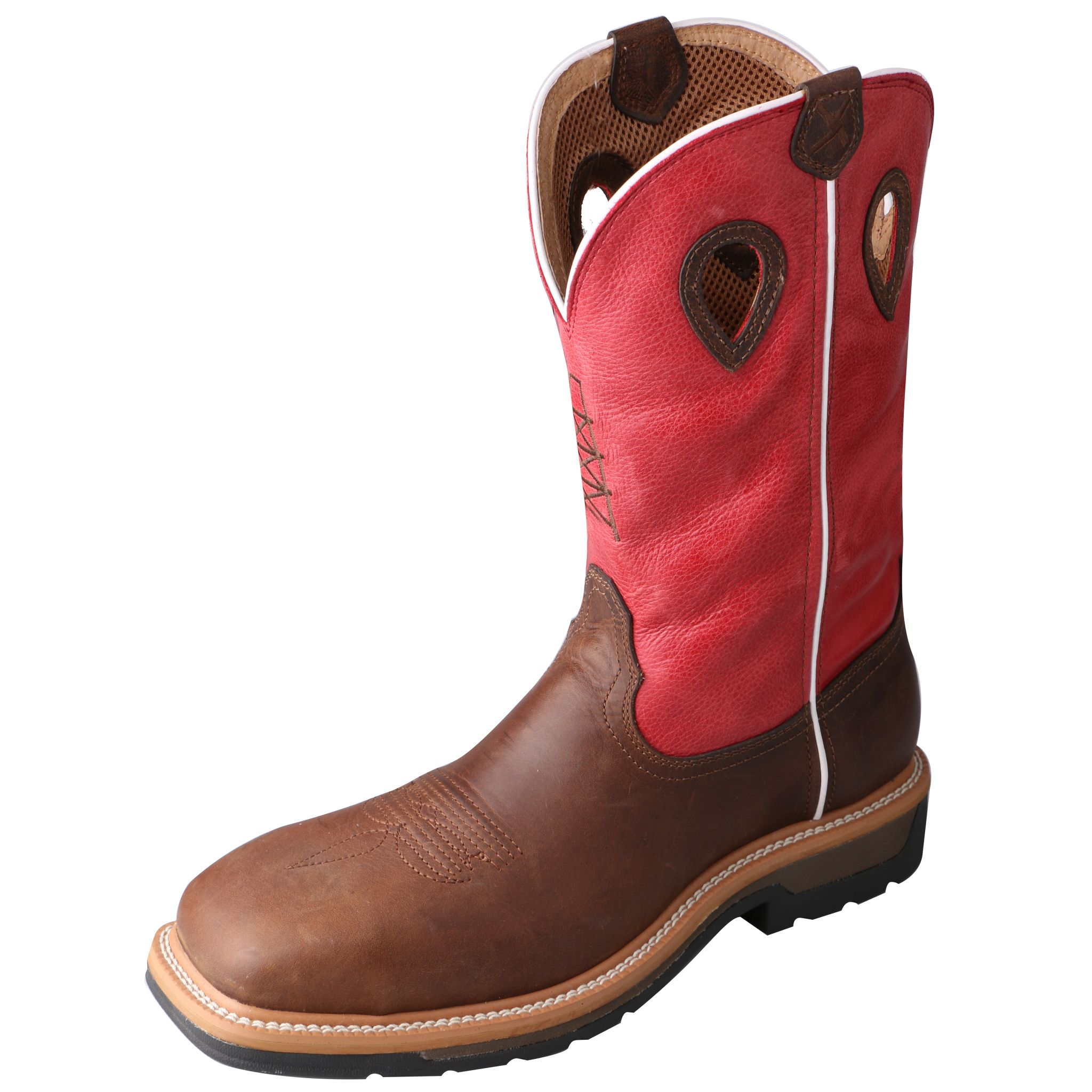 Men's Lite Cowboy Workboot – Distressed Latigo/Red-Twisted X