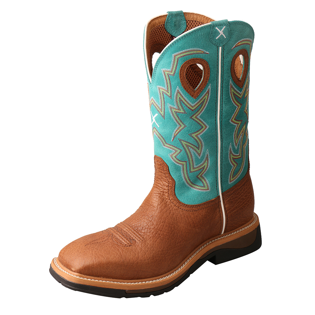 Men's Lite Cowboy Workboot – Cognac Bull Hide/Turquoise-Twisted X