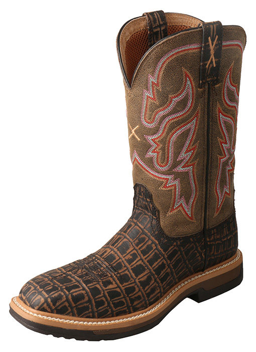 Twisted X Women's Lite Cowboy Workboot – Black Caiman Print/Bomber-Twisted X