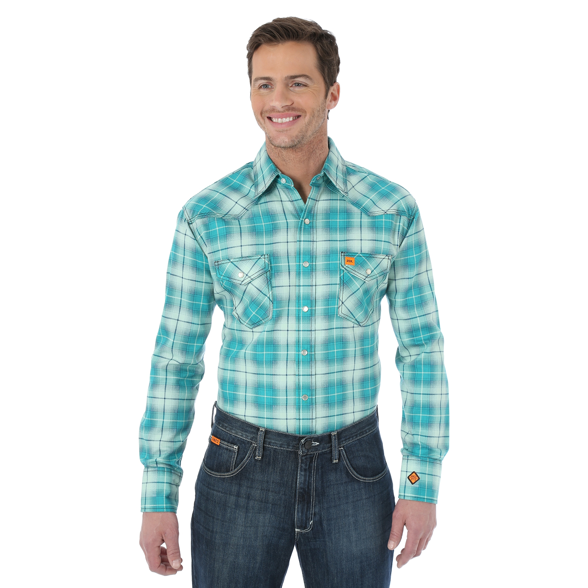 WRANGLER® FLAME RESISTANT 20X® LONG SLEEVE WORK SHIRT- Green Plaid-Wrangler FR