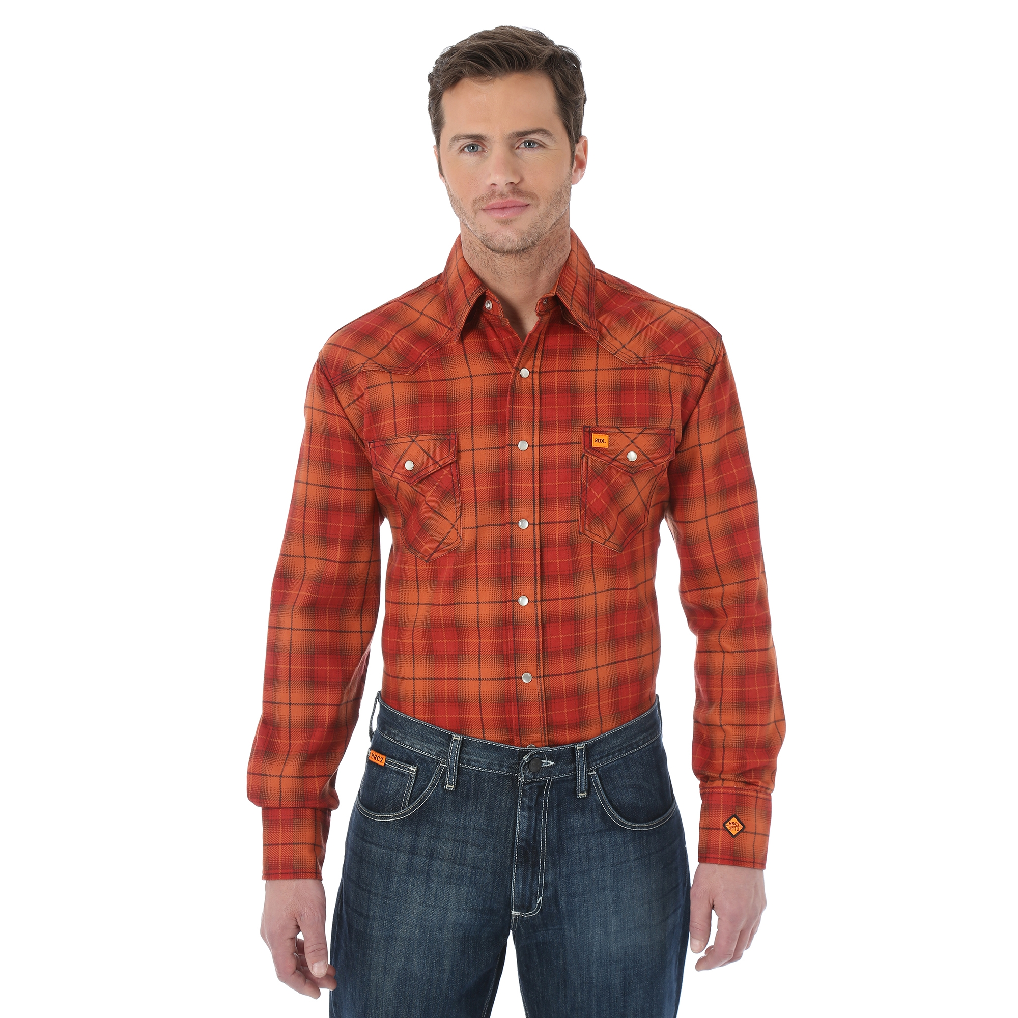 WRANGLER® FLAME RESISTANT 20X® LONG SLEEVE WORK SHIRT- Orange Plaid-Wrangler FR