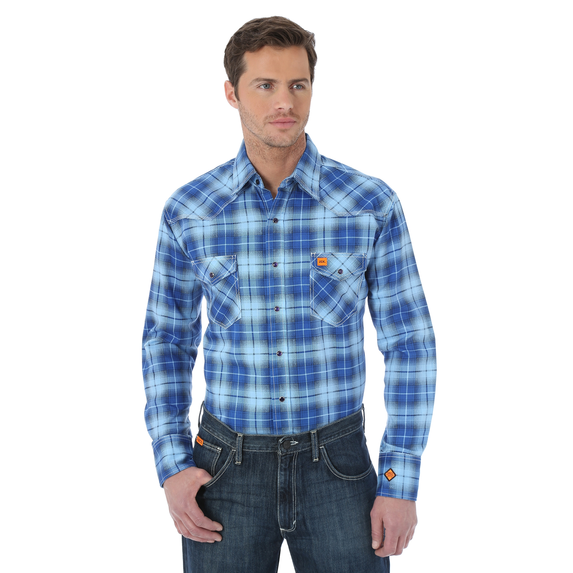 WRANGLER® FLAME RESISTANT 20X® LONG SLEEVE WORK SHIRT- Blue Plaid-Wrangler FR