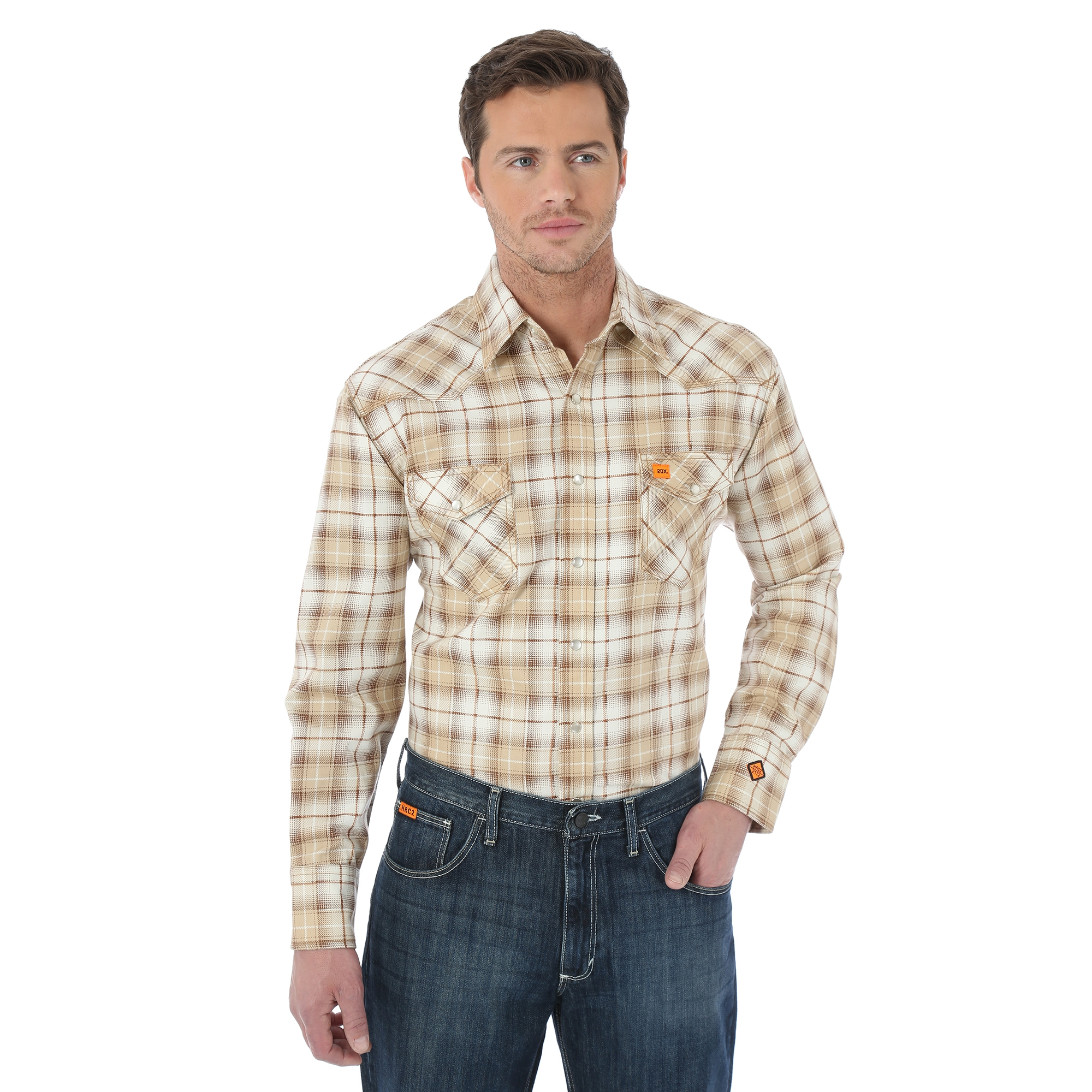 WRANGLER® FLAME RESISTANT 20X® LONG SLEEVE WORK SHIRT- Khaki Plaid-Wrangler FR