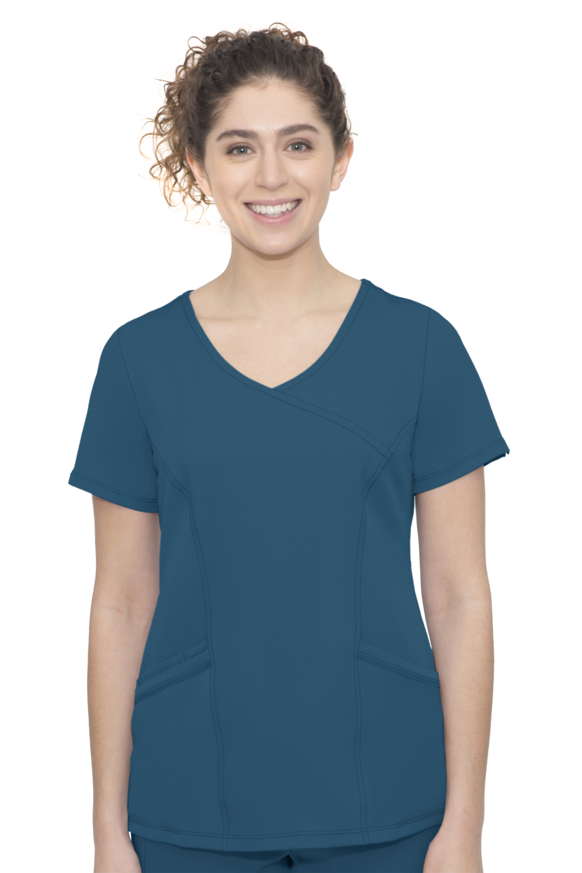 Madison Top-Faux Wrap Neck Top With 3 Pockets & 1 Media Pocket & Front & Back Princess Seam-Hh Works