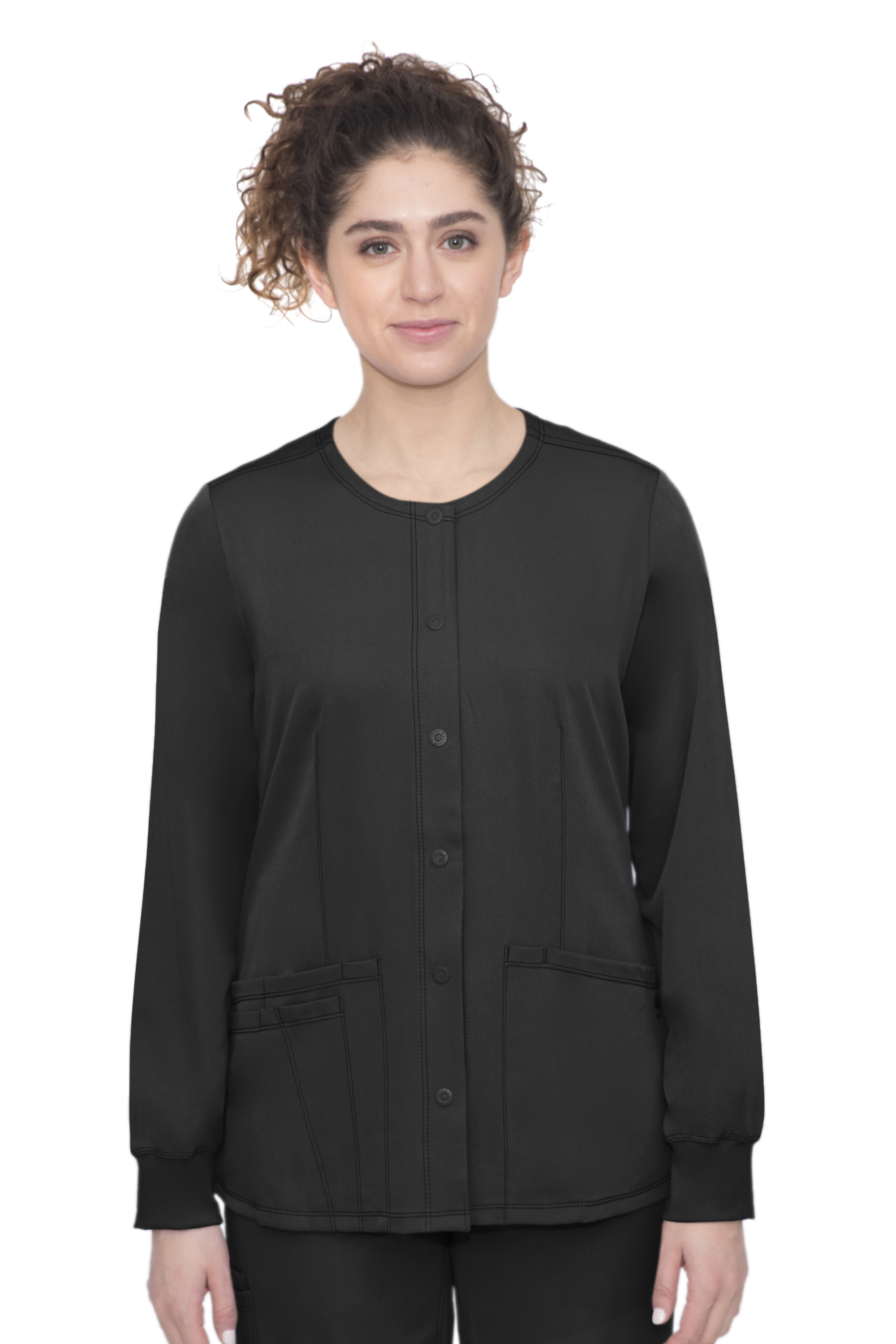 Megan Jacket-Round Neck Snap Button Front Jacket With 4 Pockets & 1 Media Pocket-Hh Works