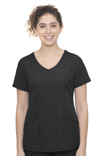 Madison Top-Faux Wrap Neck Top With 3 Pockets & 1 Media Pocket & Front & Back Princess Seam-