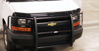 Chevy Express Van 2003-13 Grille Guard with Brush Guards and Headlight Protectors (Black)