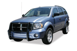 Dodge Durango 2007-10 Grille Guard with Brush Guards and Headlight Protectors (Black)