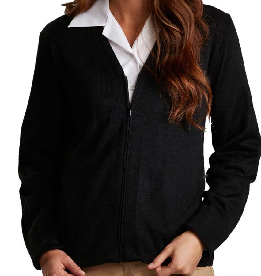 V-Neck Full-Zip Cardigan, Jersey Knit - NO PATCHES-Ingo Global