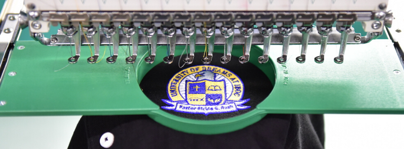 polo being embroidered